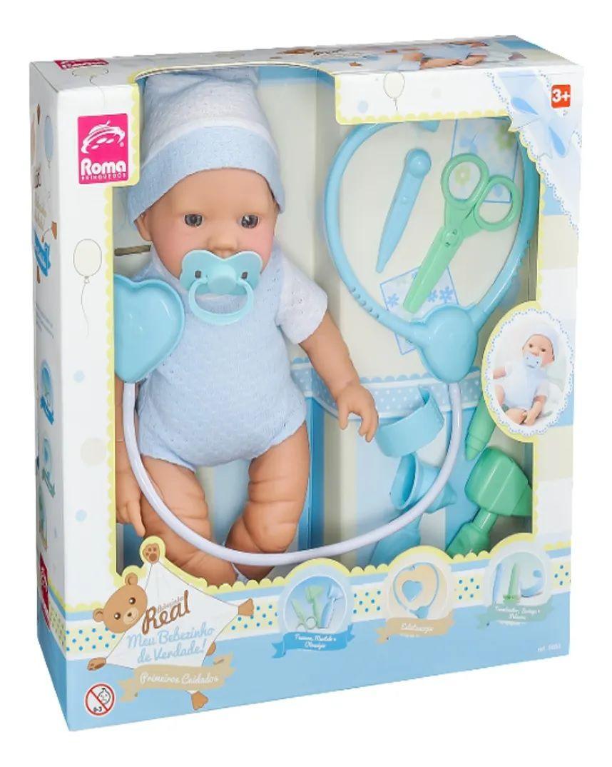 Boneco Bebezinho Real Primeiros Cuidados Gêmeos Menino Roma Brinquedos 5682