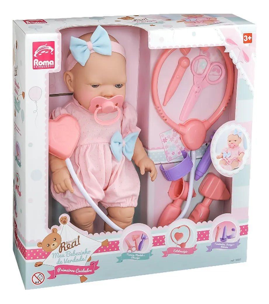 Boneca Bebezinho Real Primeiros Cuidados Menina Roma Brinquedos 5683