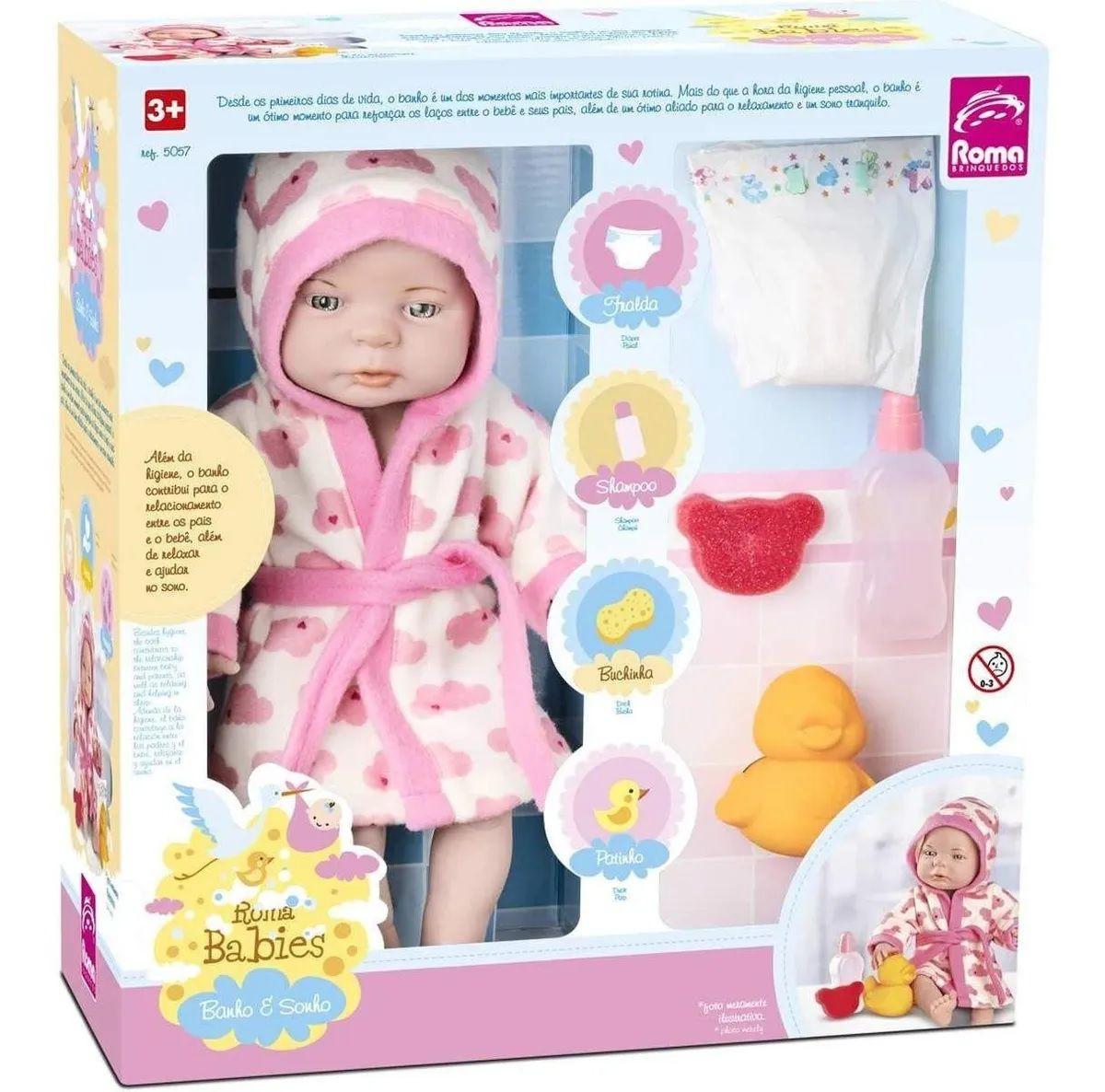 Boneca Babies Banho E Sonho Roma Brinquedos