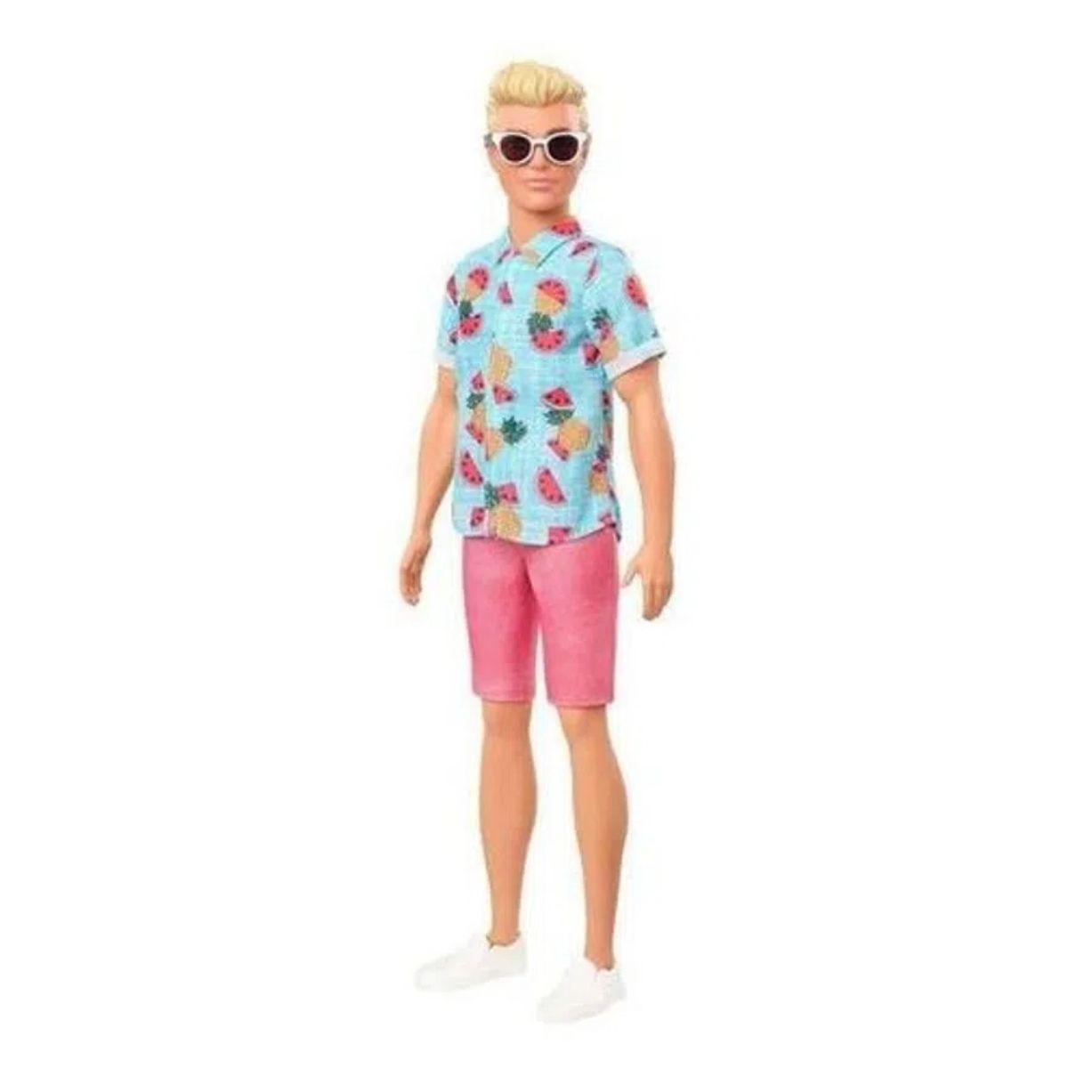 Boneco Ken Barbie Fashion Loiro Verão Óculos Sol Modelo 152