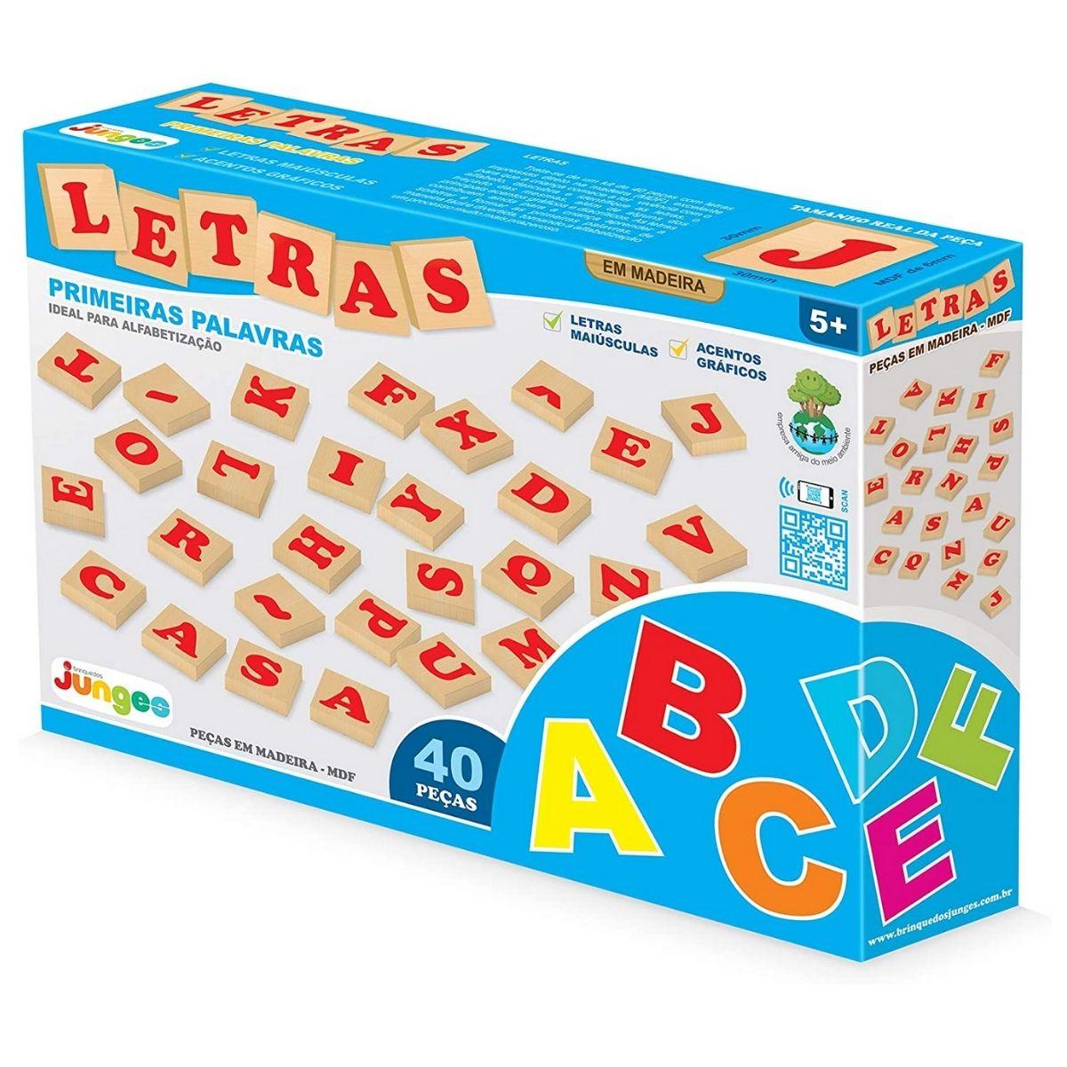 Brinquedo Educativo Mdf Letras Com 40 Peças Da Junges