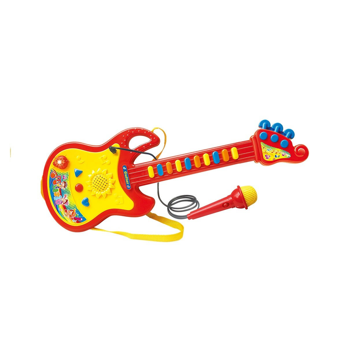 Brinquedo Infantil GUITARRA COM MICRIFONE DM TOYS DMT5379