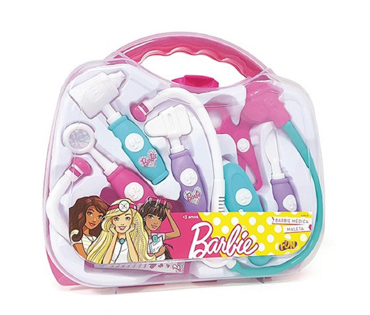 Brinquedo Kit Maleta Médica Barbie 8 Peças Fun Toys