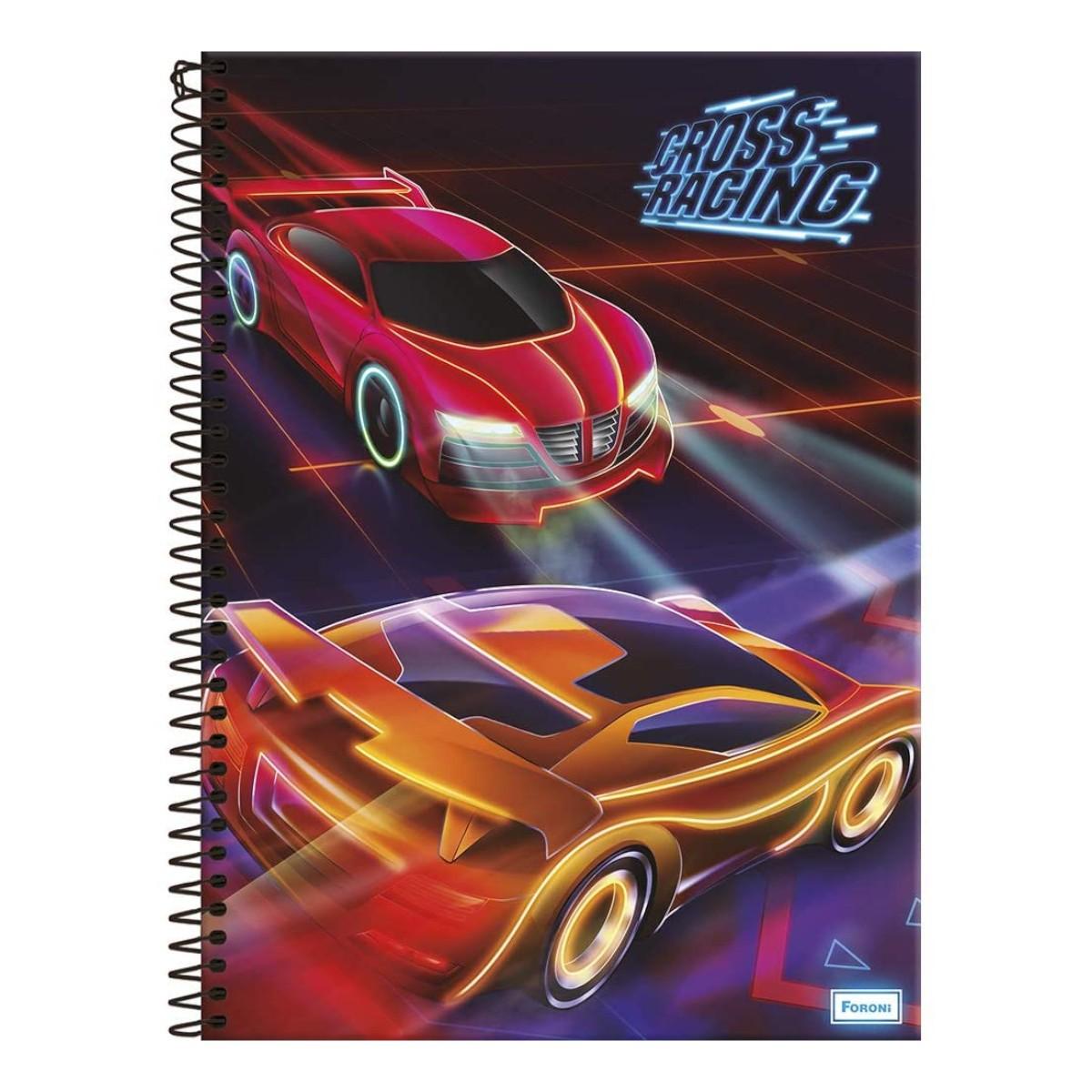 Caderno Escolar 10 Matérias Cross Racing Espiral Foroni