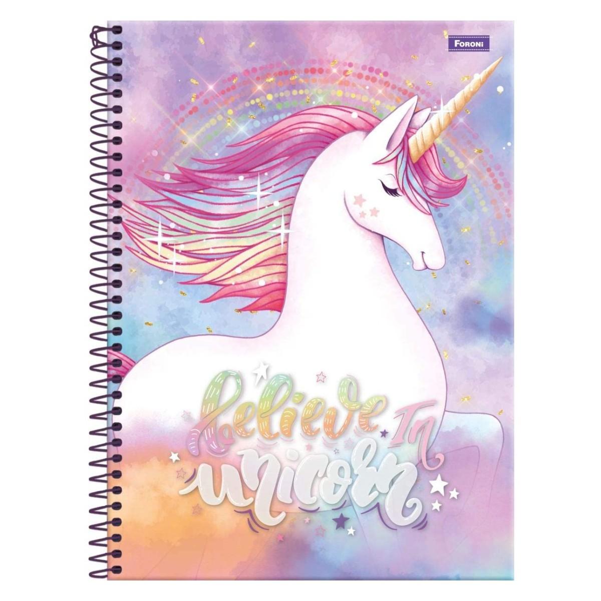 Caderno Escolar 10 Matérias Unicórnio Rainbow Espiral Foroni