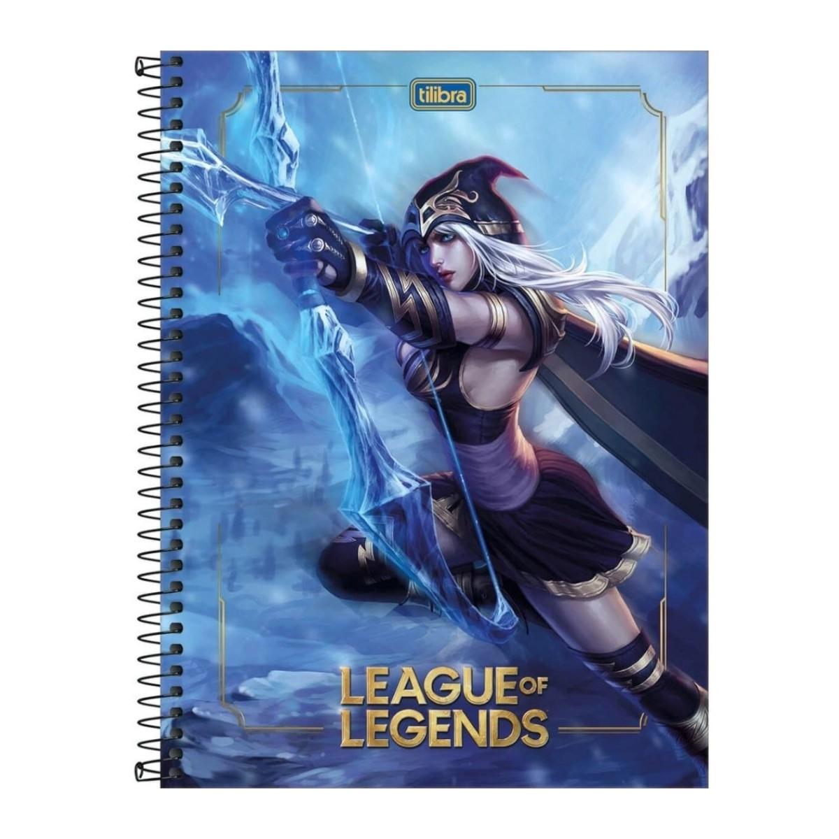 Caderno Escolar League of Legends 16 Matérias 256 Folhas Tilibra