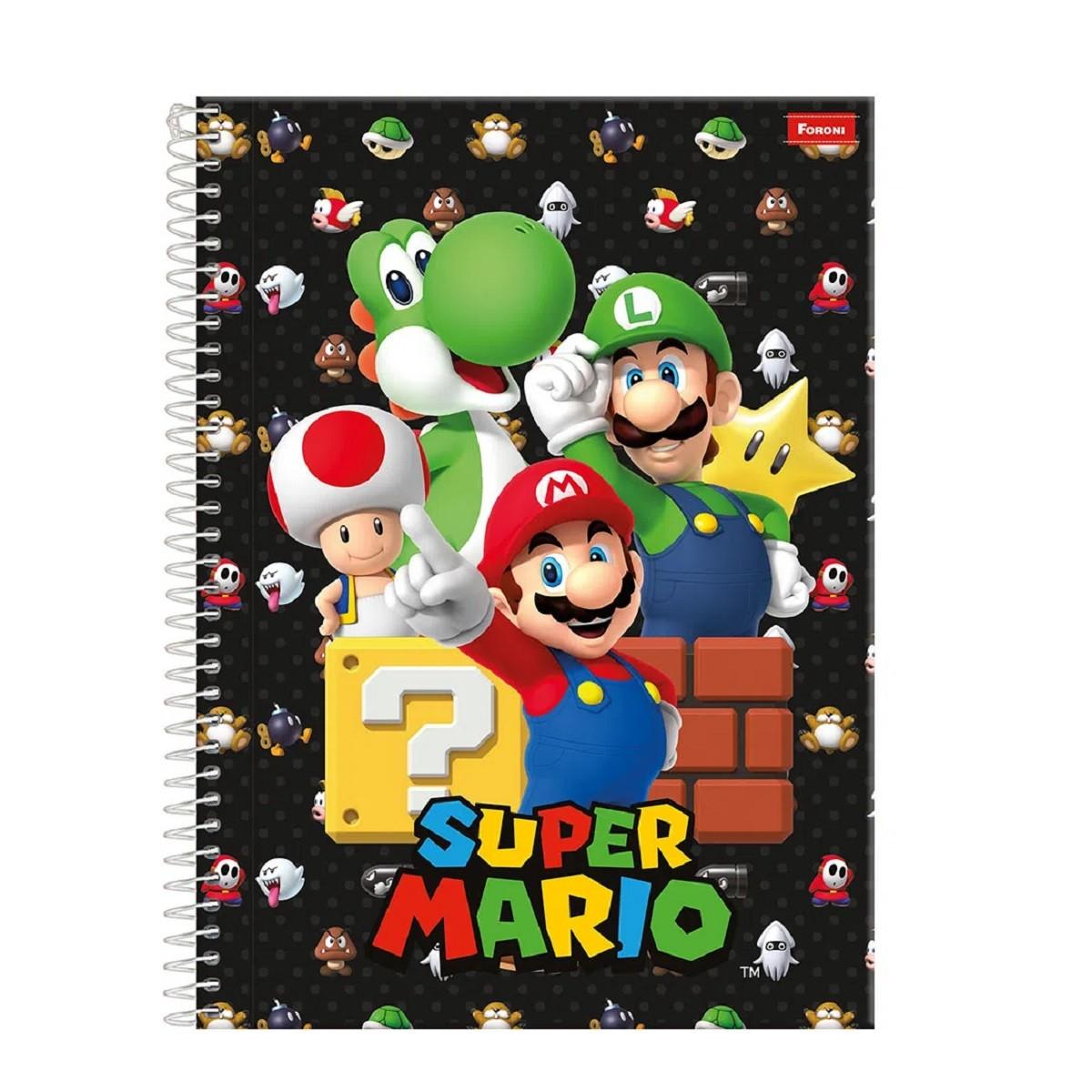 Caderno Universitário 10 Matérias Super Mario FORONI