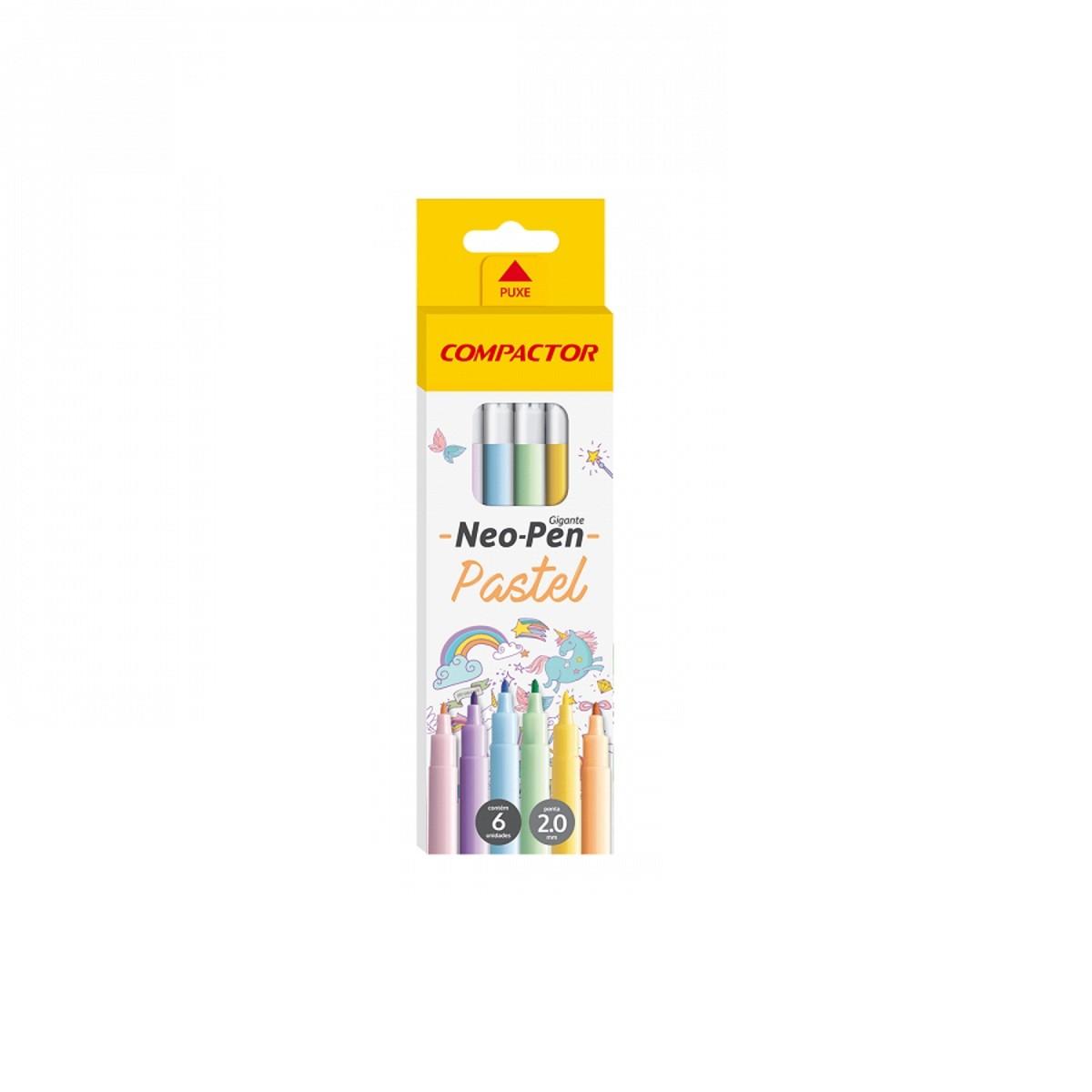 Caneta Hidreográfica Neo-Pen Gigante Pastel 6 Cores