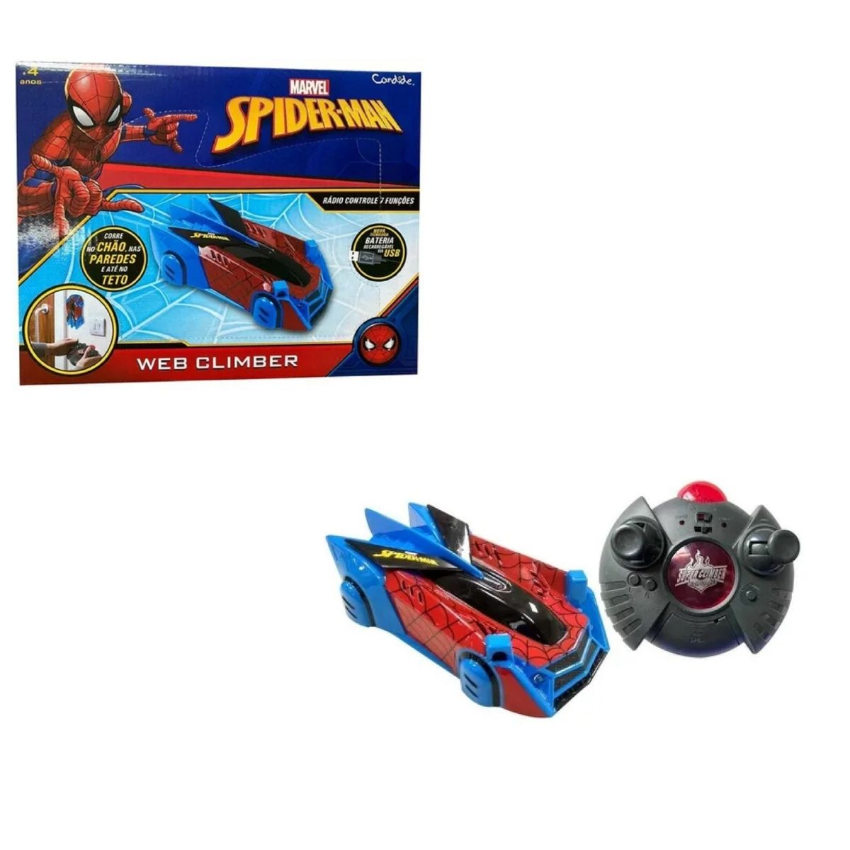 Carro Controle SPIDER-MAN Web Climber Anda Na Parede e Teto