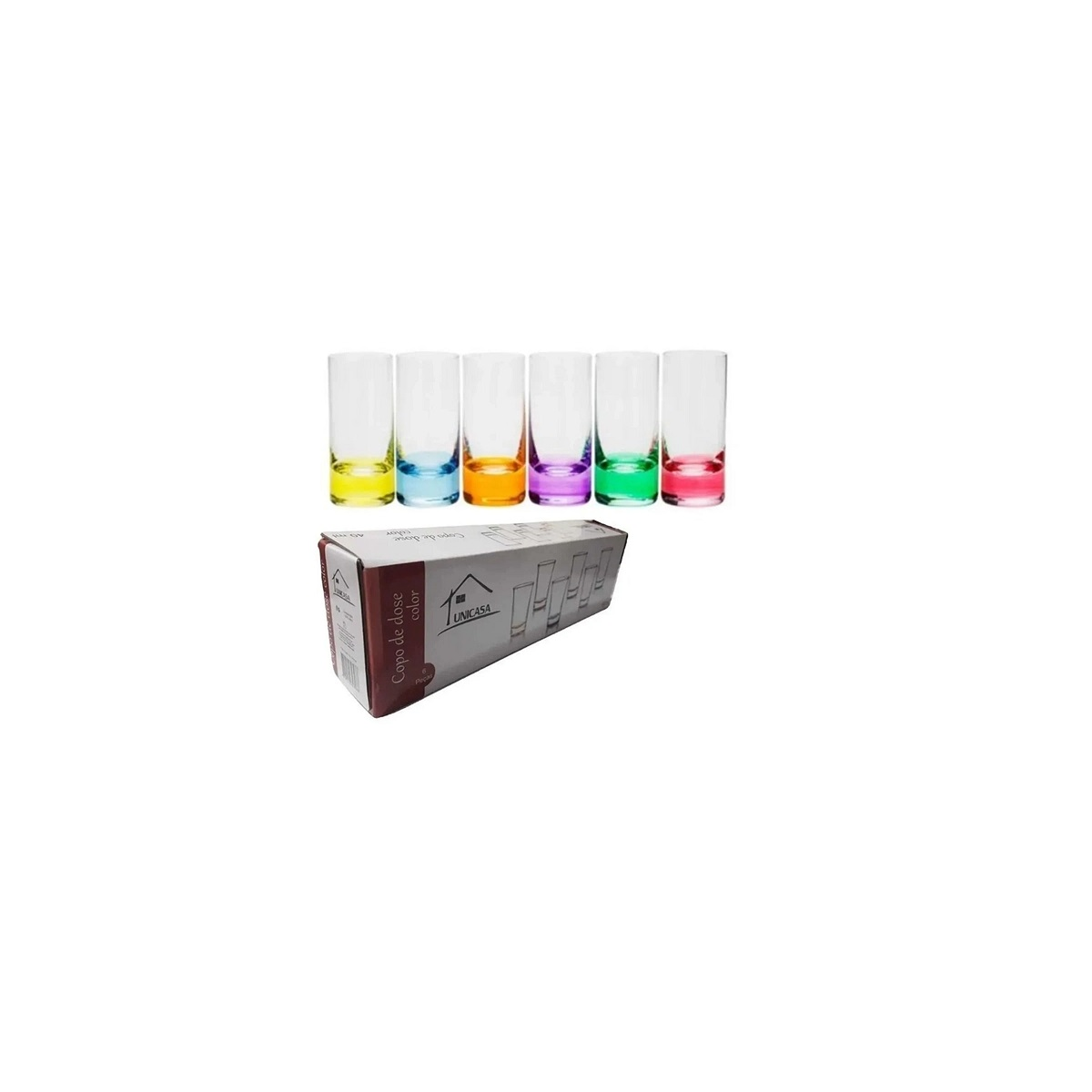Conjunto 6 Copos De Shot Dose De Vidro Colorido 40Ml