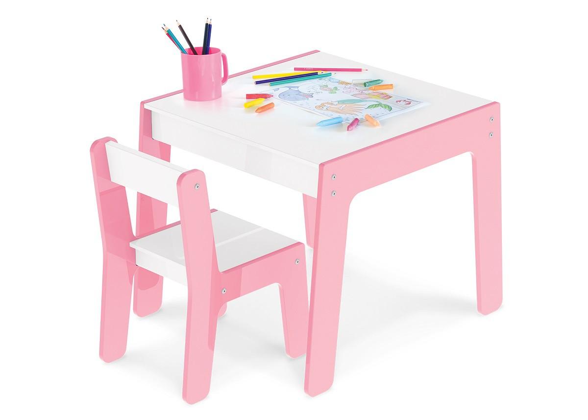 Conjunto De Mesa De Atividade Com Cadeira Infantil Rosa :990