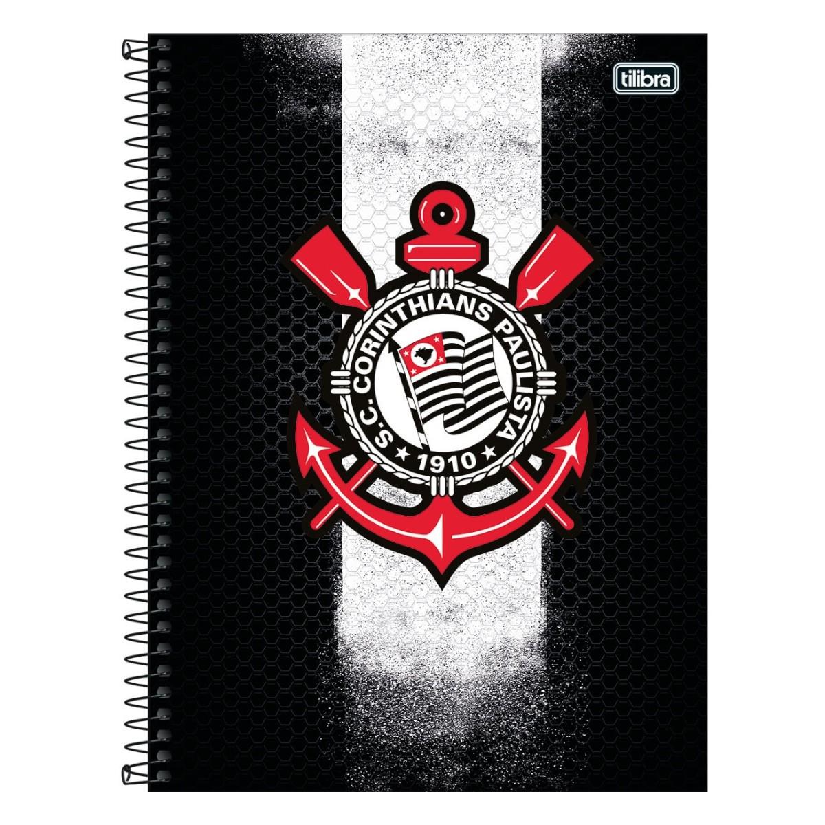 Caderno Escolar 10 Matérias Corinthians 160 Folhas Tilibra