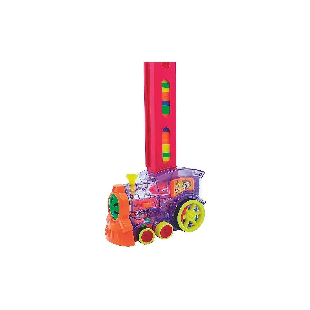 Dominó Trenzinho Empilhadeiro Brinquedo Interativo 80 Peças 2006