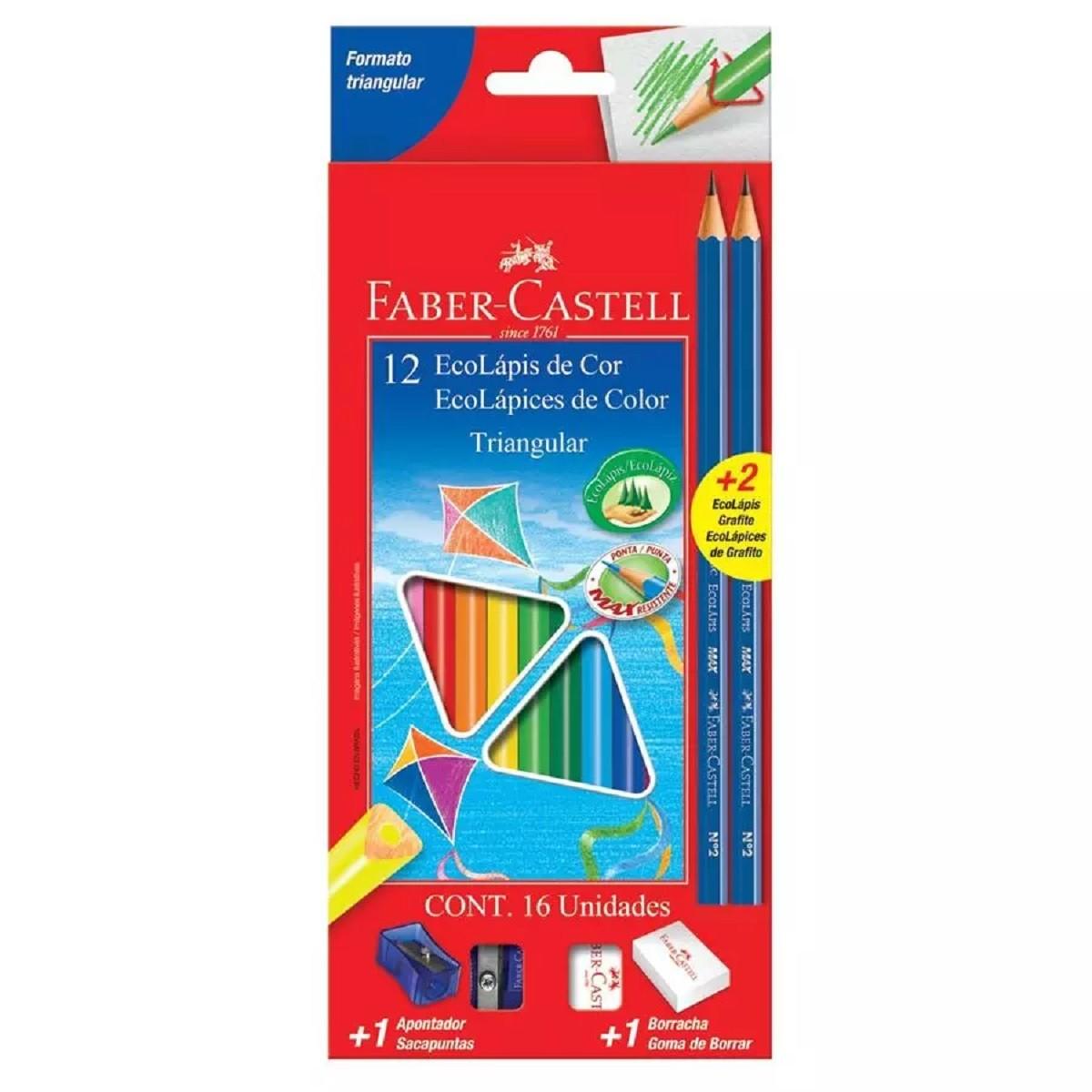 Ecolapis de Cor Triangular 12 Cores + 2 EcoLápis  Grafite