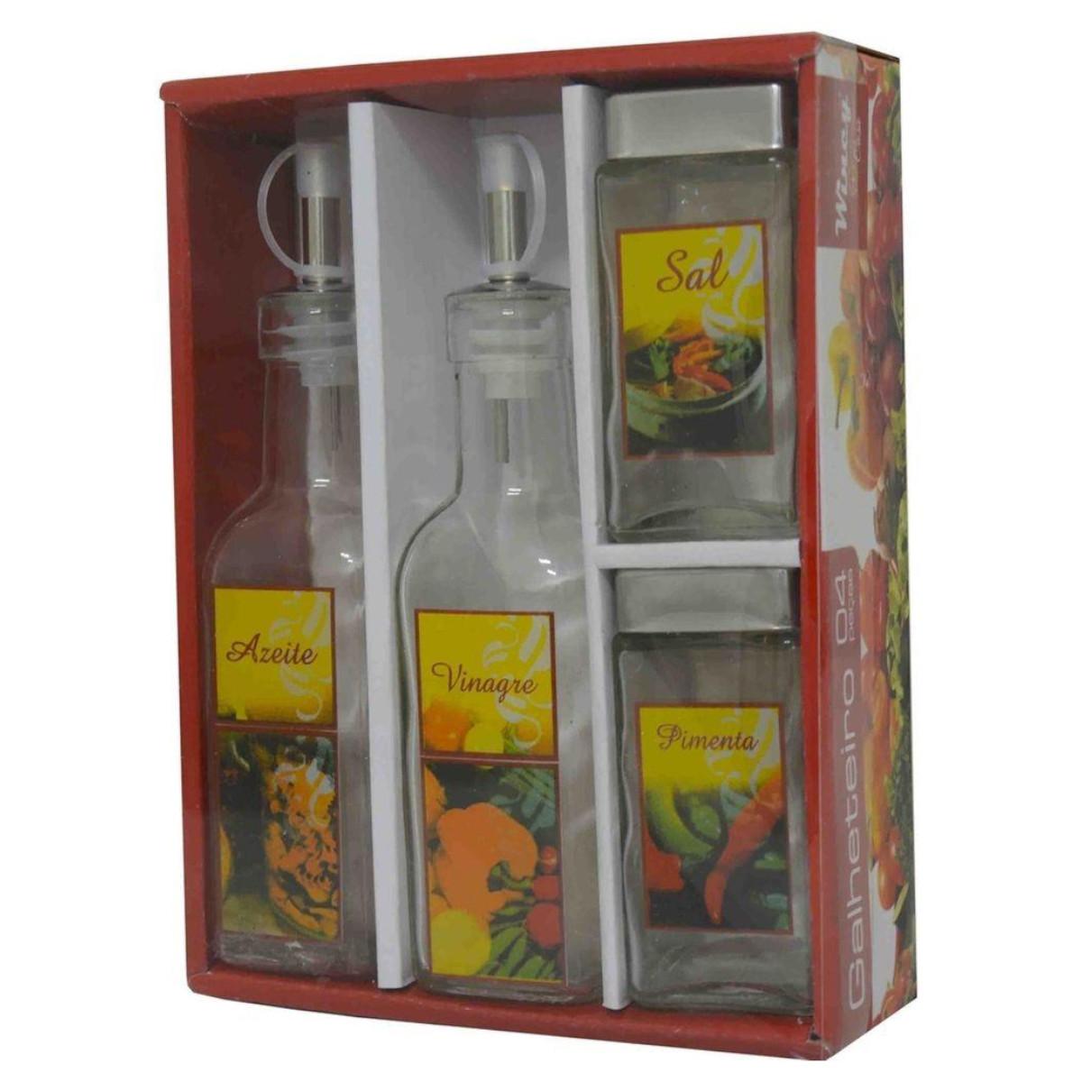 Galheteiro porta azeite vinagre sal e pimenta de vidro