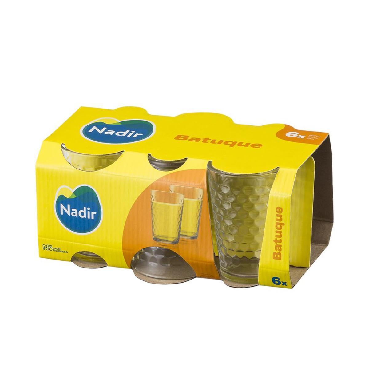 Jogo de copos batuque em vidro 265 ml 6 peças água e suco