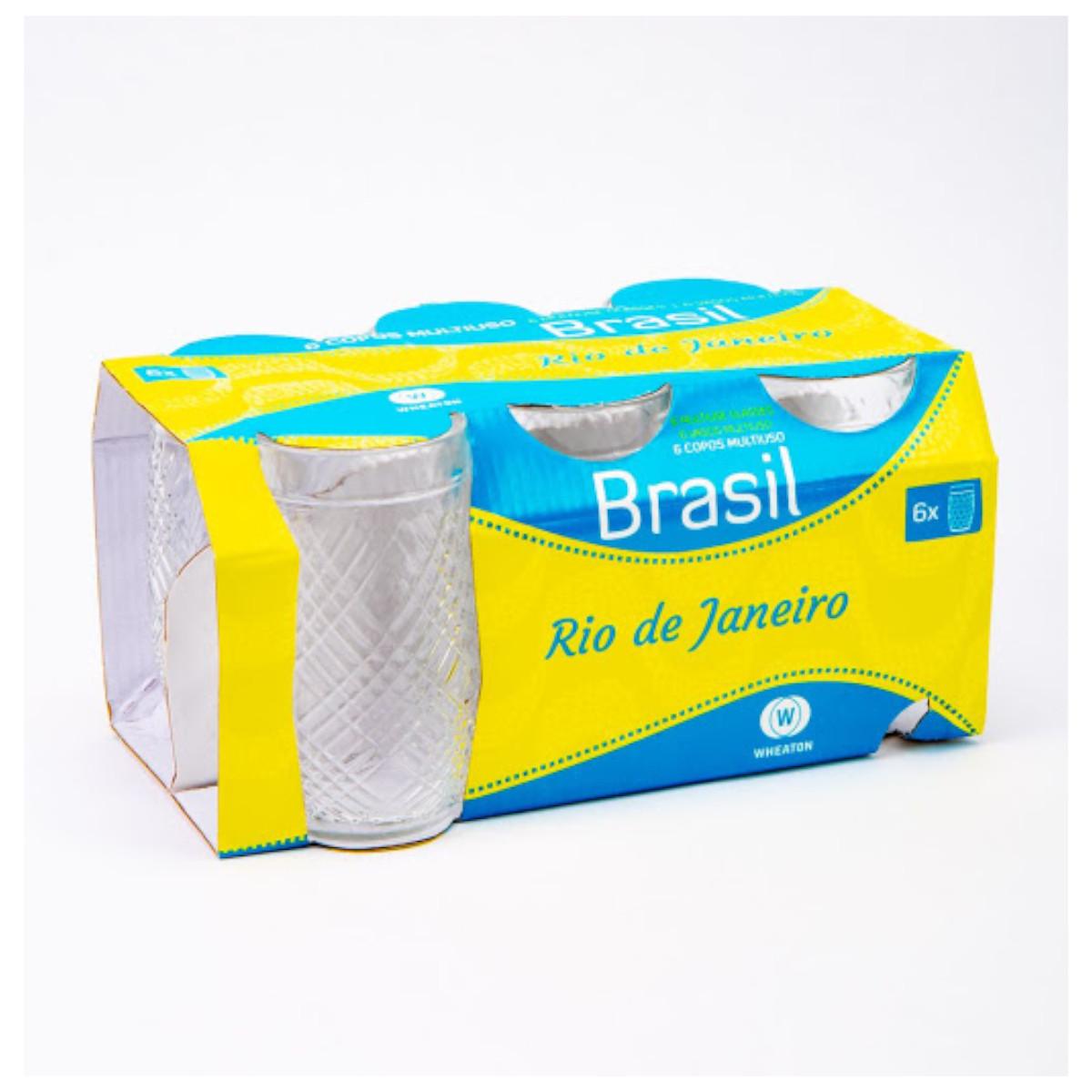 Jogo de copos rio de janeiro brasil em vidro 300 ml 6 peças água e suco