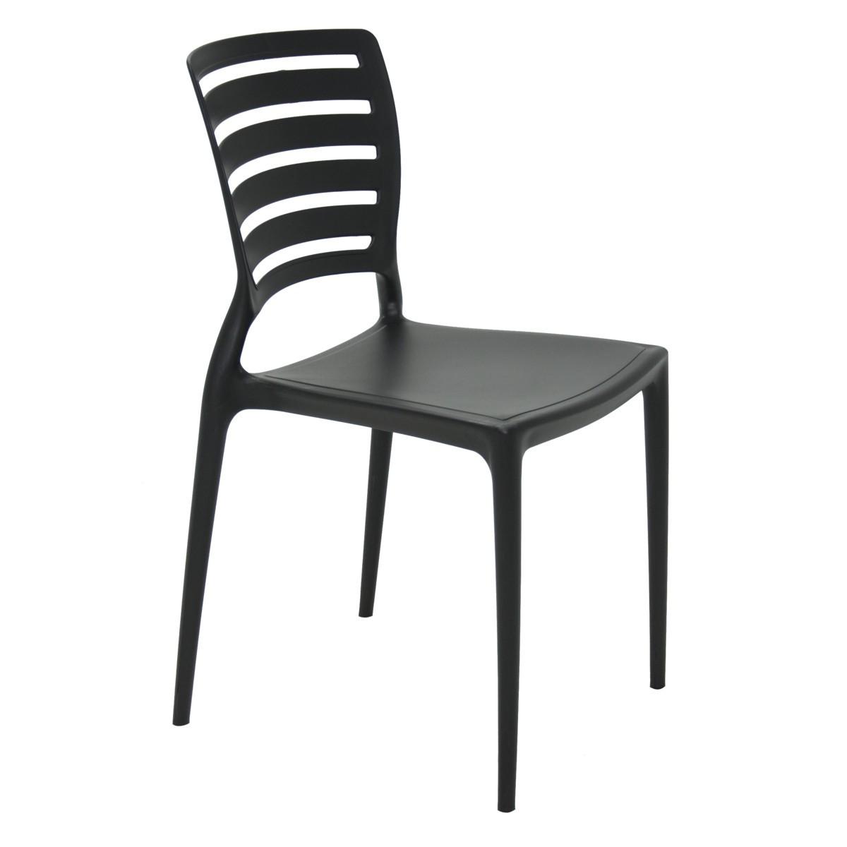 Kit 4 Cadeiras Tramontina Sofia Com Encosto Vazado Cores Preta