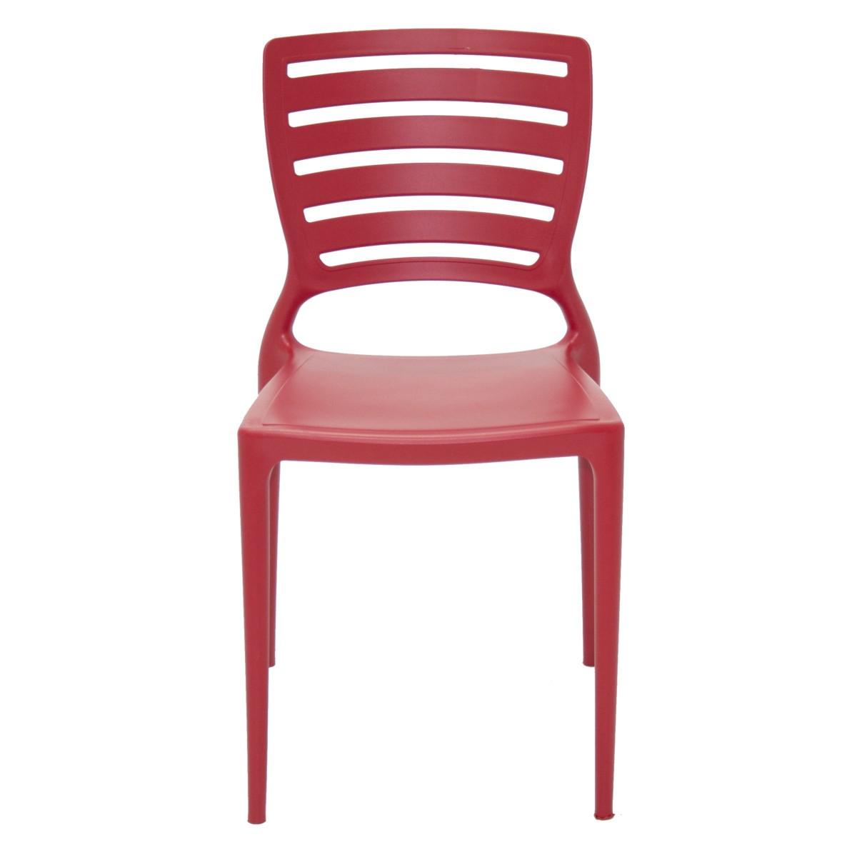 Kit 4 Cadeiras Tramontina Sofia Com Encosto Vazado Cores Vermelha