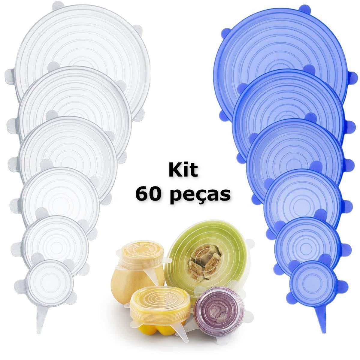 Kit 60 Tampas De Silicone Reutilizável Flexível Para Cozinha