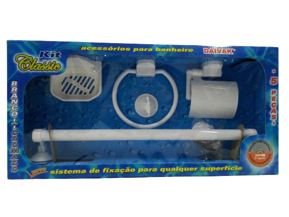 Kit Acessórios Banheiro Branco Classic 5 Pçs Ventosa Daivak