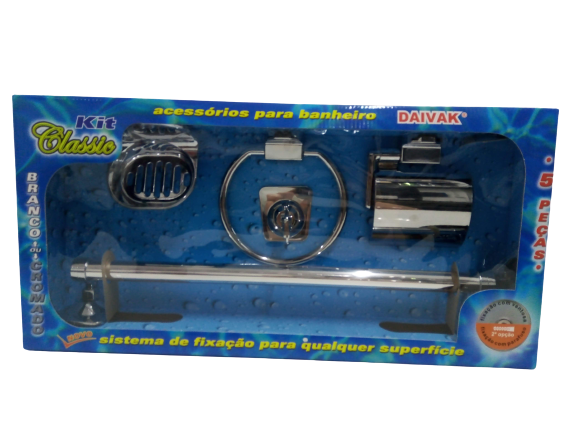 Kit Acessórios Banheiro Cromado Classic 5 Pçs Ventosa Daivak
