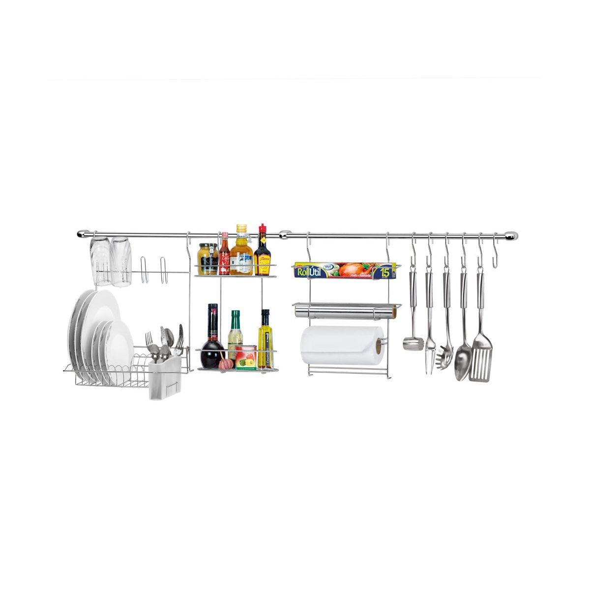Kit Cozinha Cook Home 10 Com Escorredor Porta Rolos Arthi 1410