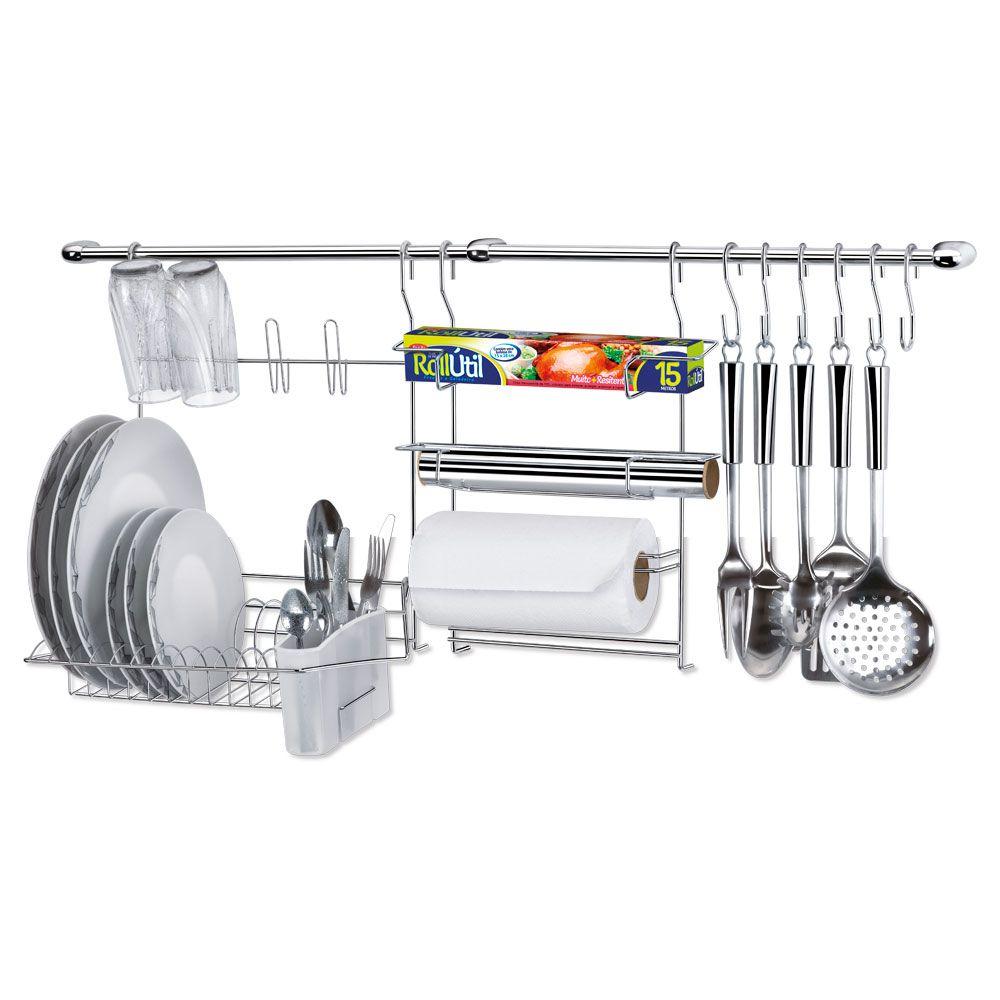 Kit Cozinha Cook Home 9 Porta Rolos e Escorredor 1409