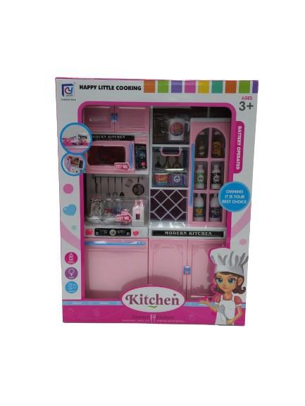 Kit Cozinha Infantil Fogão Armario Microondas Com Luz E Som