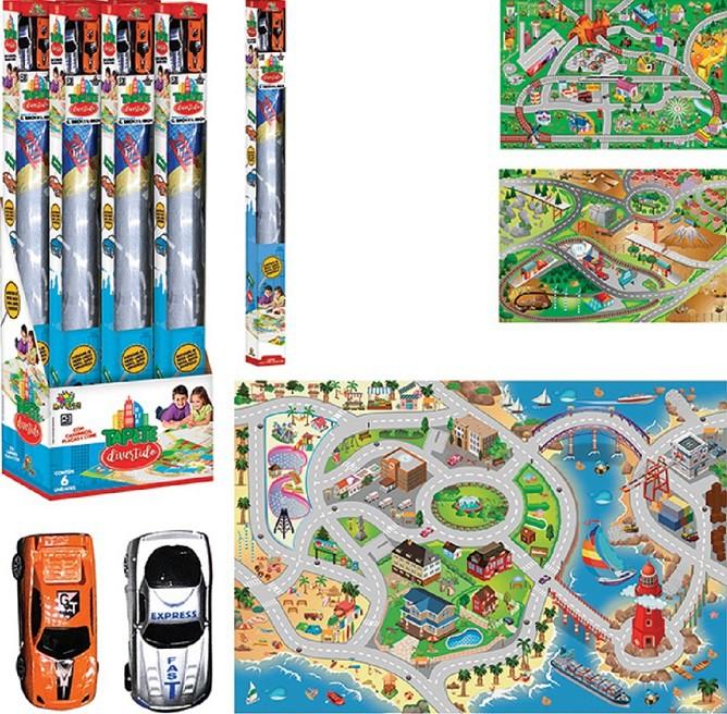 Kit Tapete Infantil Super Divertido Com Mapa e Carrinhos