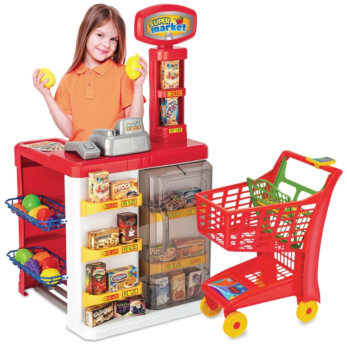 Mercadinho Infantil Super Market Carrinho de Compra Som Luz 8039