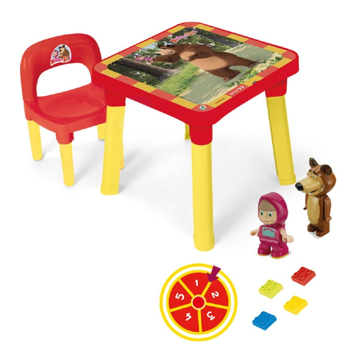 Mesinha Infantil Com Cadeira E Acessórios Masha E O Urso