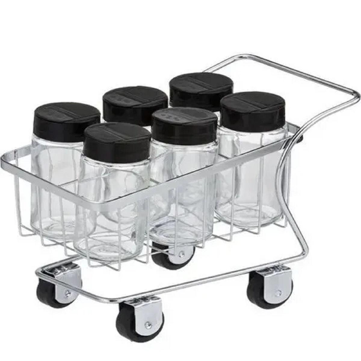 Mini Carrinho Com 6 Porta Condimentos Vidro Passerini 1177