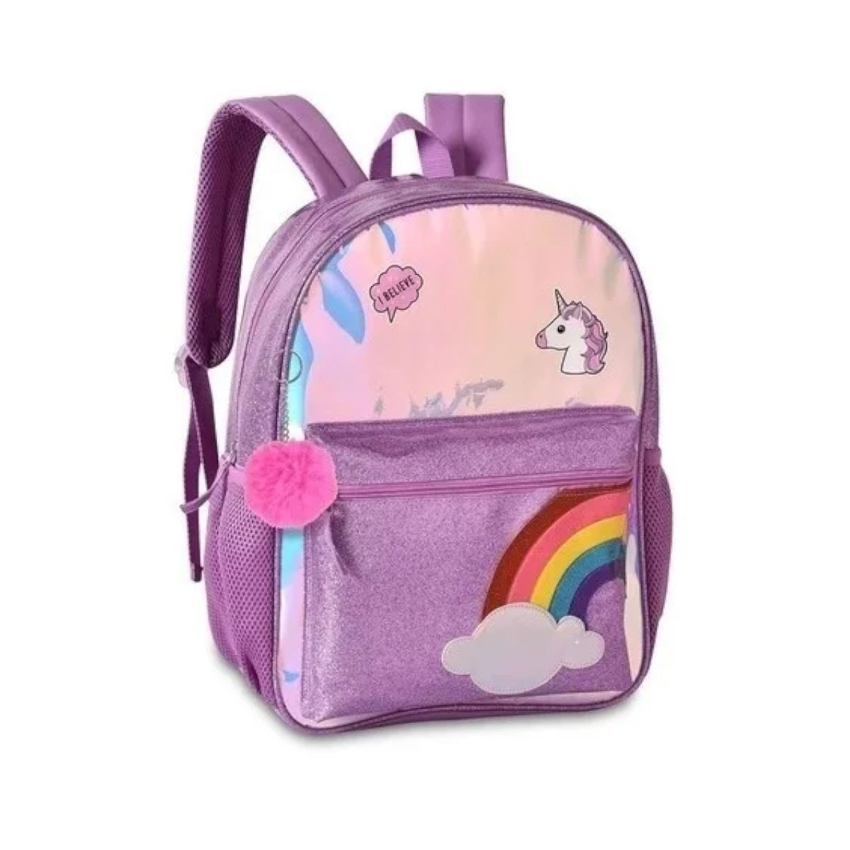 Mochila Infantil Costas Unicórnio Glitter Holográfica Clio