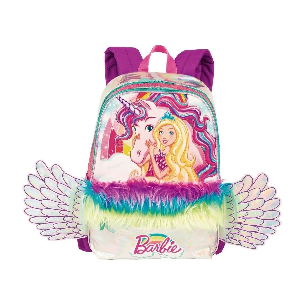 Mochila Infantil Costas Barbie Dreamtopia Com Luz e Asas