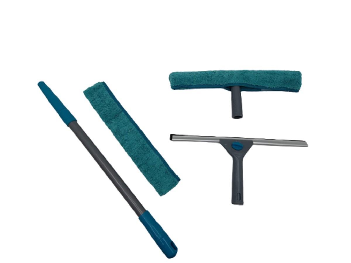 Mop Rodo Limpeza De Vidros 2 Em 1 Limpa E Seca Extensível