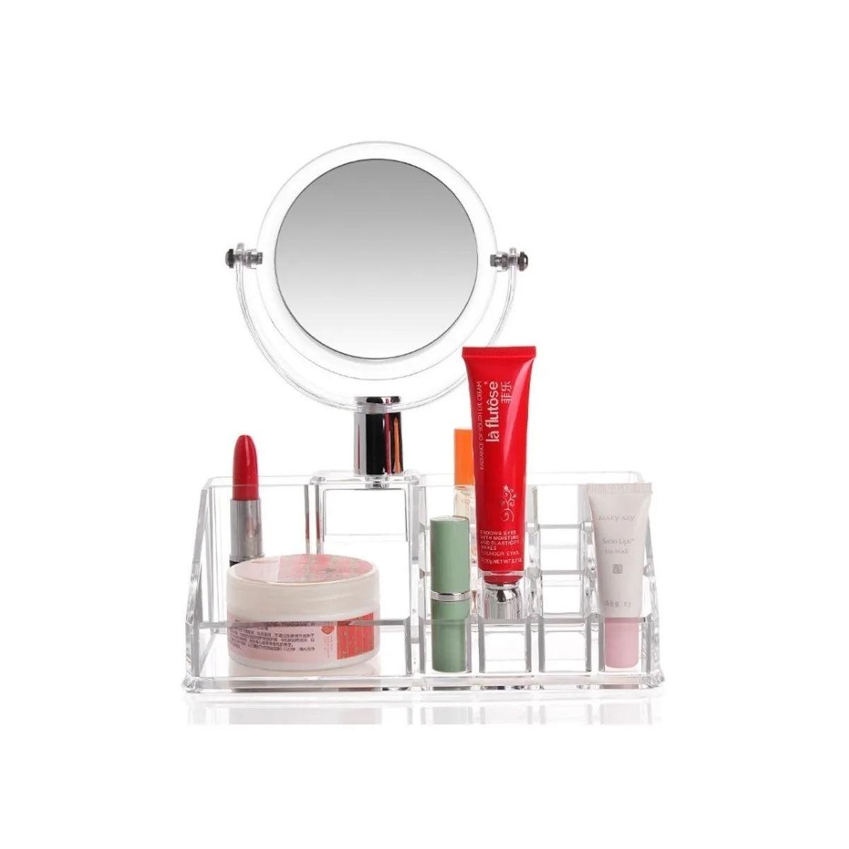 Organizador de Maquiagem Cosméticos Acrílico Com Espelho