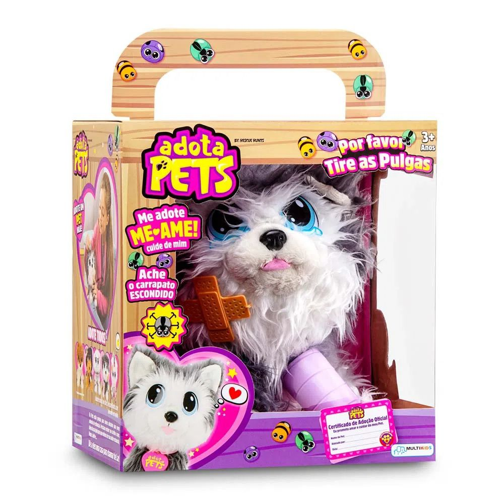 Pelúcia Adota Pets Ozzy Com Acessórios Multikids