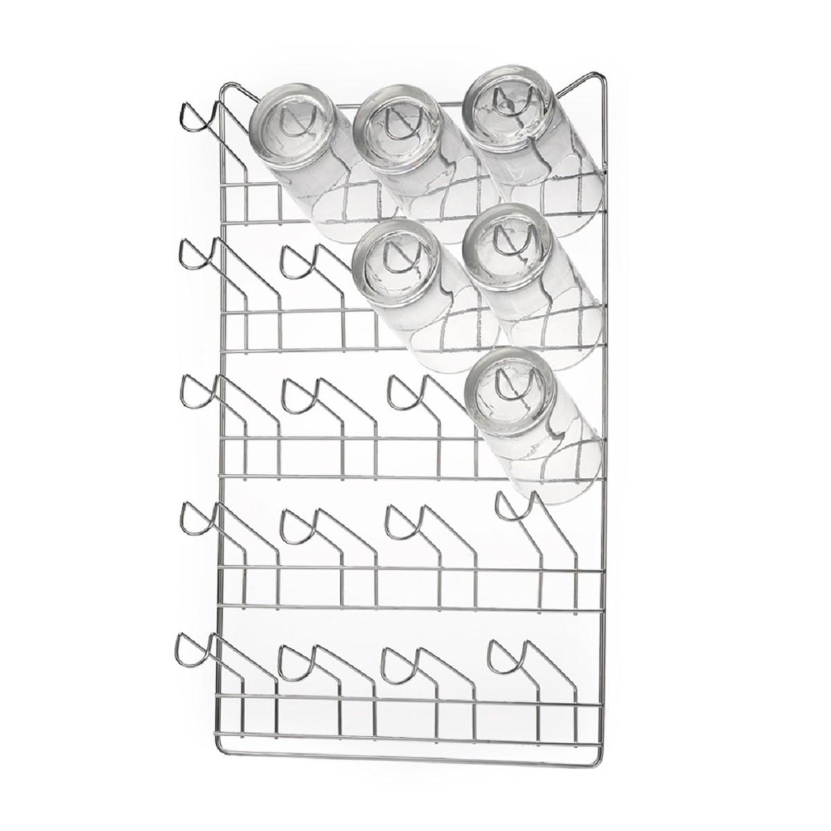 Porta Copos De Parede Para 20 Unidades Aço Inox 1113 Arthi