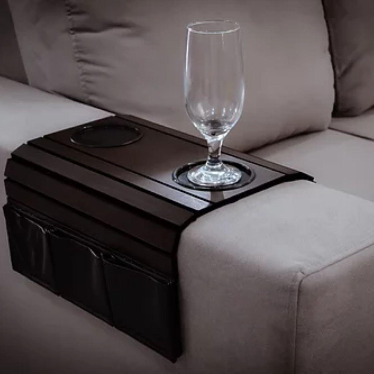 Porta copos para braço de sofá com suporte corino (Tabaco) 3mm
