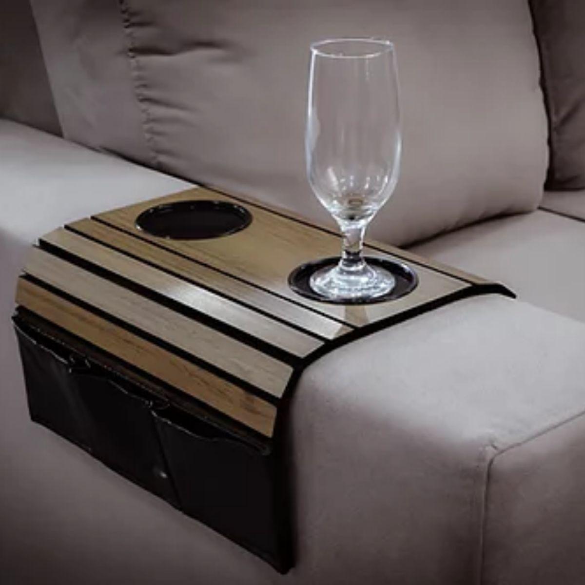 Porta copos para Braço de Sofá com suporte corino (Ipê) 6mm