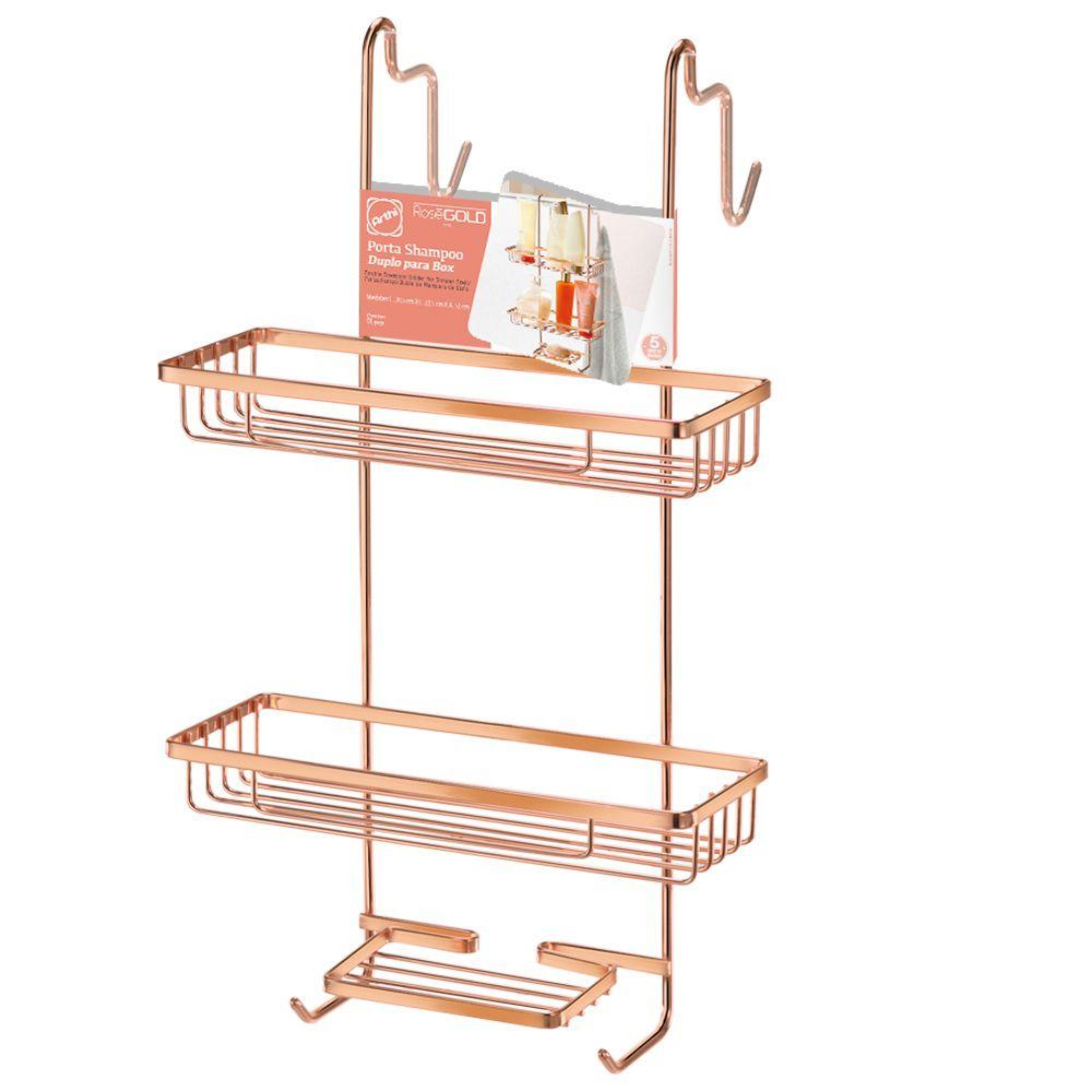 Porta Shampoo Duplo Para Box Rose Gold - Arthi 2407