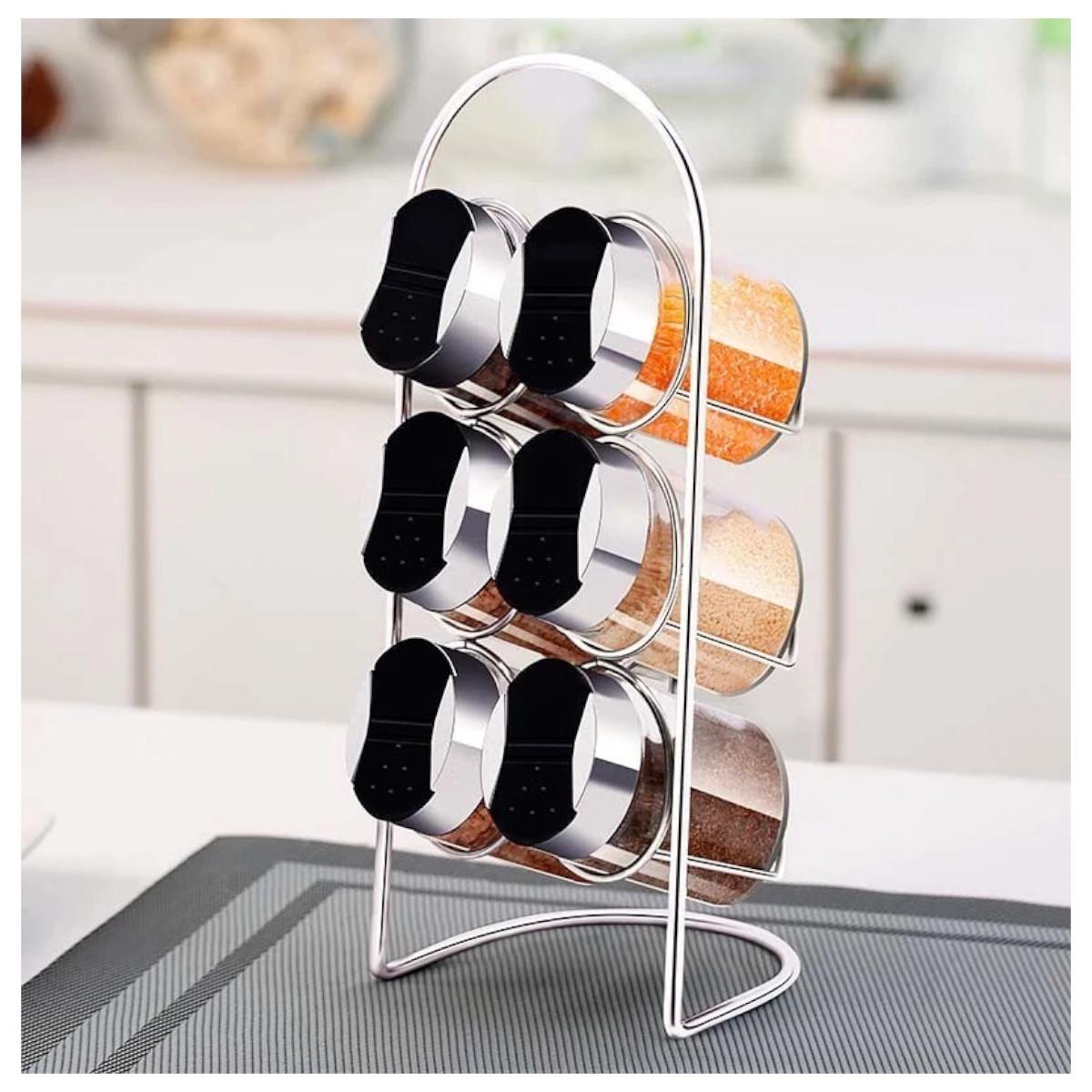 Porta Temperos De Vidro Kit 6 Potes Para Cozinha + Suporte