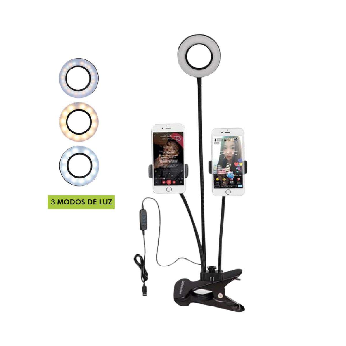 Selfie Ring Light Mesa Flexível Suporte Celular Articulado