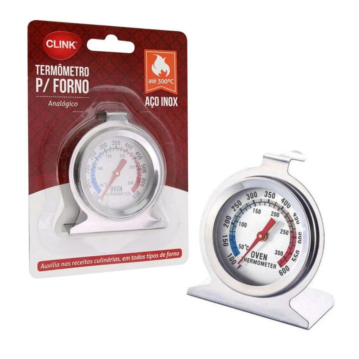 Termômetro  Analógico Em Inox Para Forno 600° Com Base