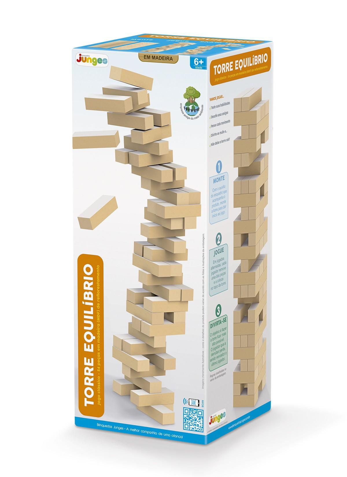 Torre De Equilíbrio o Jogo Clássico 54 Peças Em Madeira MDF