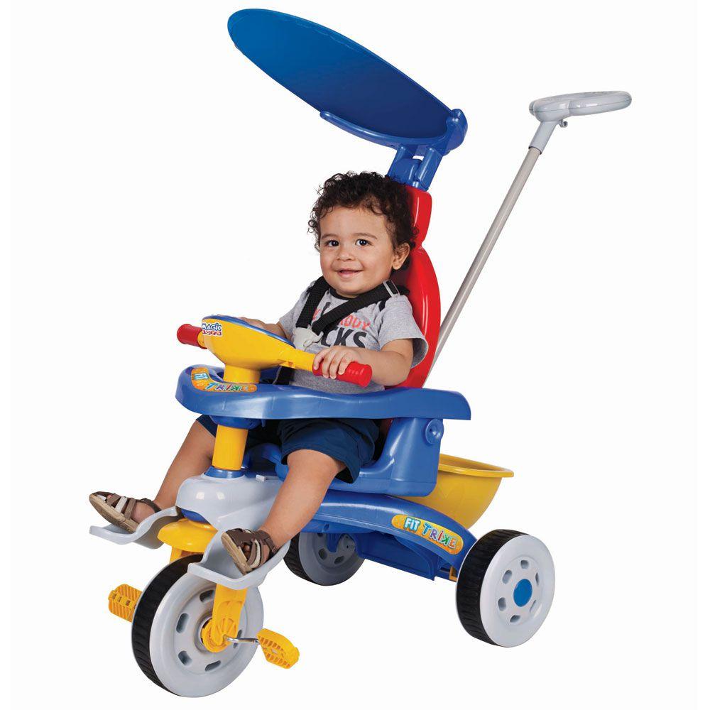 Triciclo Reclinável Capota e Haste Para Empurrar Magic Toys