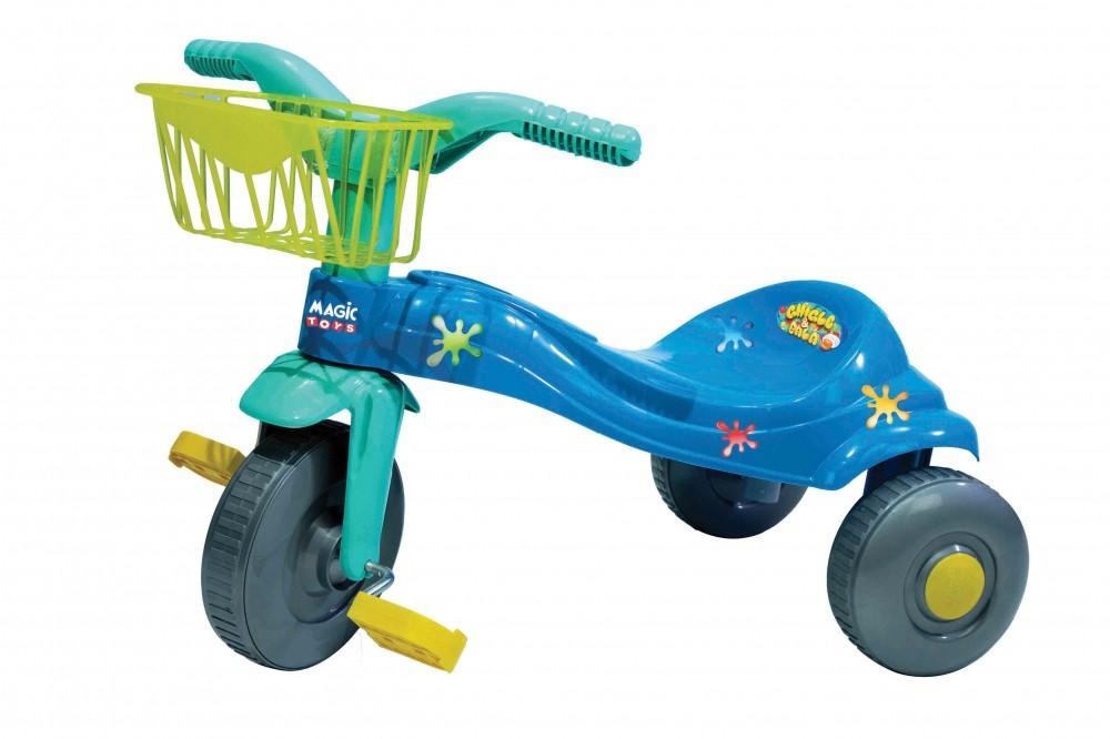 Triciclo Tico Tico Chiclete Azul Com Cesta Magic Toys