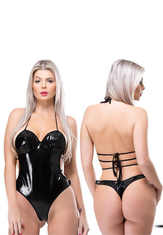 Body erótico em vinil preto