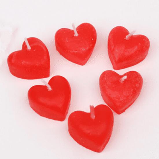 Kit com 6 velas decorativa coração aromatizada